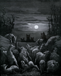 alexej:  Gustave Doré, The Wolves and the Flock of Sheep [Les Loups et les Brebis], 1867. From Doré's Illustrations for the Fables of La Fontaine.