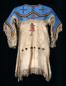 Girl's dress w/beaded yoke Lakota Sioux 1870 deep skin, beads, porcupine quills